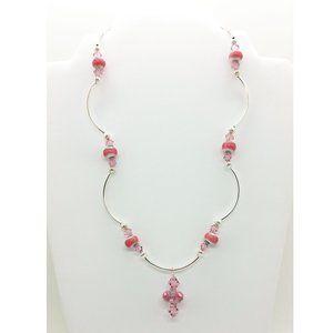 OOAK Pink Glass & Swarovski Crystal Necklace